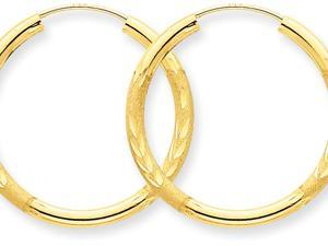 14k 2mm Satin Bright-cut Endless Hoop Earrings in 14 kt Yellow Gold