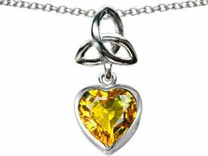Celtic Love by Kelly Love Knot Pendant with Heart 9mm Simulated Citrine in Sterling Silver