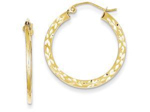 10k Bright Cut Hollow Hoop Earrings in 10 kt Yellow Gold