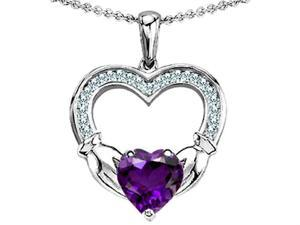 Celtic Love by Kelly Hands Holding 8mm Heart Claddagh Pendant with Simulated Amethyst in Sterling Silver