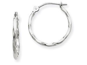 14kw Twisted Hoop Earrings in 14 kt White Gold