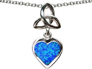 Celtic Love by Kelly Love Knot Pendant with Heart 9mm Blue Simulated Opal in Sterling Silver