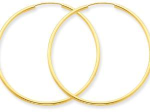 14k 1.5mm Polished Round Endless Hoop Earrings in 14 kt Yellow Gold