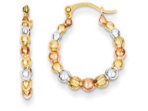 14k Tri-color Madi K Beaded Hoop Children Earrings in 14 kt Yellow Gold
