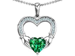 Celtic Love by Kelly Hands Holding 8mm Heart 1inch Claddagh Pendant with Simulated Emerald in Sterling Silver