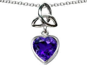 Celtic Love by Kelly Love Knot Pendant with Heart 9mm Simulated Amethyst in Sterling Silver