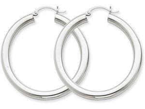 14k 4mm White Gold Hoop Earrings