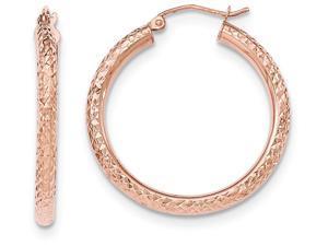 14k Rose Gold Bright-cut 3mm Round Hoop Earrings