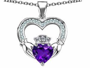 Celtic Love by Kelly Hands Holding 8mm Crown Heart Claddagh Pendant with Simulated Amethyst in Sterling Silver