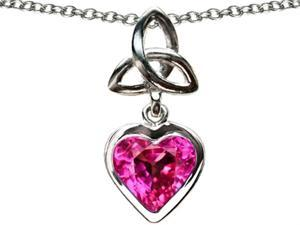 Celtic Love by Kelly Love Knot Pendant with Heart 9mm Created Pink Sapphire in Sterling Silver