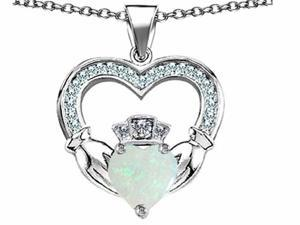 Celtic Love by Kelly Hands Holding 8mm Crown Heart Claddagh Pendant with Simulated Opal in Sterling Silver