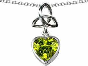 Celtic Love by Kelly Love Knot Pendant with Heart 9mm Simulated Peridot in Sterling Silver