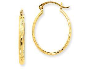 14k Lightweight Bright-cut Oval Hoop Earrings in 14 kt Yellow Gold