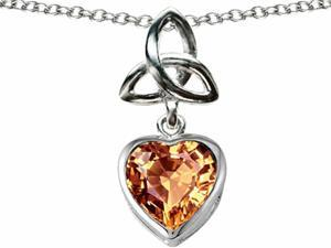 Celtic Love by Kelly Love Knot Pendant with Heart 9mm Simulated Imperial Yellow Topaz in Sterling Silver
