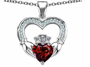 Celtic Love by Kelly Hands Holding 8mm Crown Heart Claddagh Pendant with Simulated Garnet in Sterling Silver
