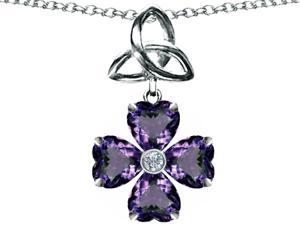 Celtic Love by Kelly Lucky Shamrock with Celtic Knot made with Heart 6mm Simulated Alexandrite in Sterling Silver