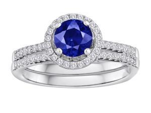 Star K Round Created Sapphire Halo Wedding Set in Sterling Silver Size 8