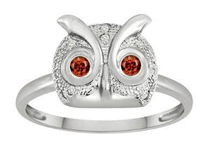 Star K Round Simulated Garnet Good Luck Owl Ring in Sterling Silver Size 5