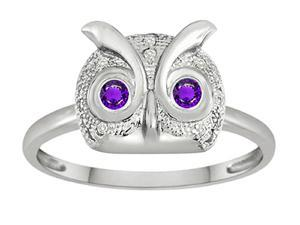 Star K Round Simulated Amethyst Good Luck Owl Ring in Sterling Silver Size 5