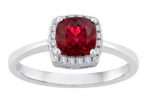 Star K Cushion Cut Created Ruby Halo Ring in Sterling Silver Size 6