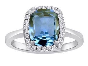 Star K Cushion Cut Simulated Aquamarine Halo Ring in Sterling Silver Size 5