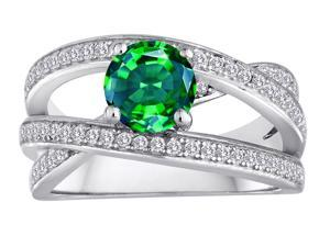 Star K Round Simulated Emerald Wedding Set in Sterling Silver Size 5