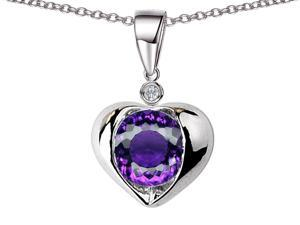Star K Round 7mm Simulated Amethyst Heart Pendant in Sterling Silver