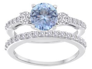 Star K Round Simulated Aquamarine Wedding Set in Sterling Silver Size 6
