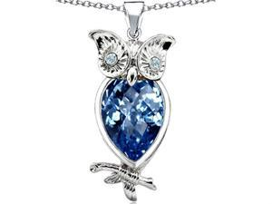 Star K Good Luck Owl Pendant with Pear Shape Simulated Blue Topaz in Sterling Silver