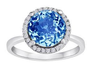 Star K Round Simulated Aquamarine Halo Ring in Sterling Silver Size 5