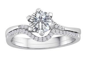 Star K Round White Topaz Wedding Set in Sterling Silver Size 5
