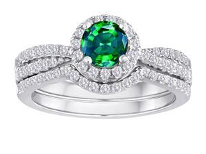 Star K Round Simulated Emerald Halo Wedding Set in Sterling Silver Size 5