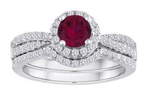 Star K Round Created Ruby Halo Wedding Set in Sterling Silver Size 8