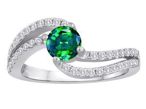 Star K Round Simulated Emerald Bypass Wedding Ring in Sterling Silver Size 5