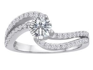 Star K Round White Topaz Bypass Wedding Ring in Sterling Silver Size 7