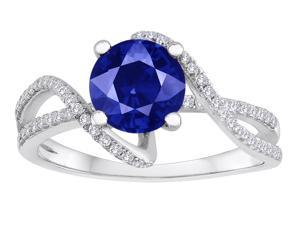 Star K Round Created Sapphire Bypass Wedding Ring in Sterling Silver Size 7