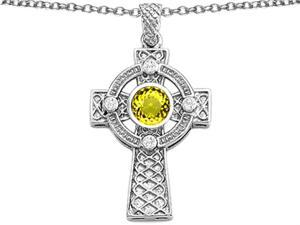 Celtic Love by Kelly Celtic Cross pendant with 7mm Round Simulated Citrine in Sterling Silver
