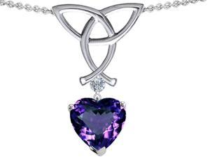 Celtic Love by Kelly Love Knot Pendant with 8mm Heart Shape Simulated Alexandrite in Sterling Silver