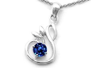 Star K Round Created Sapphire Swan Pendant in Sterling Silver
