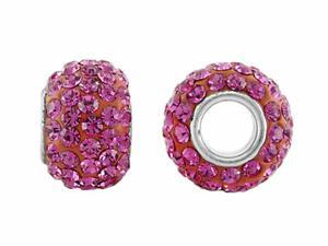 Storywheel Hot Pink Crystal Bead / Charm in Sterling Silver