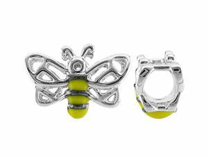 Storywheel Bumble Bee Yellow and Black Enamel Bead / Charm in Sterling Silver