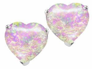 Star K 7mm Heart Shape Pink Simulated Opal Earrings Studs in Sterling Silver