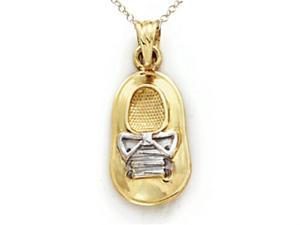 14kt Two Tone Gold Baby Boy Shoe Pendant Chain Included