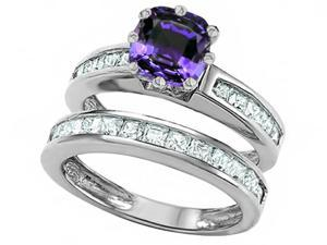 Star K Cushion Cut 7mm Simulated Alexandrite Wedding Set in Sterling Silver Size 7
