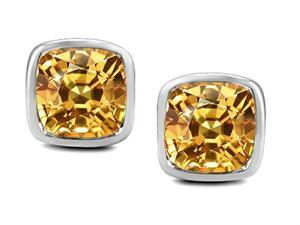Star K 8mm Cushion Cut Simulated Imperial Yellow Topaz Earrings Studs in Sterling Silver
