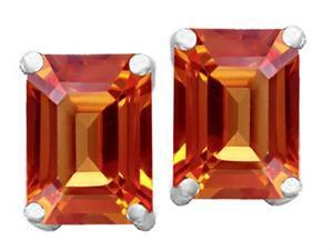 Star K 8x6mm Emerald Cut Simulated Orange Mexican Fire Opal Earrings in Sterling Silver