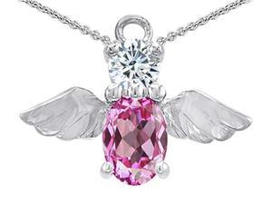 Star K Angel Of Love Protection Pendant Made with Created Pink Sapphire in Sterling Silver
