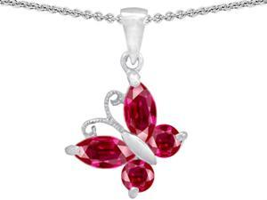 Star K Butterfly Pendant Made with Created Ruby in Sterling Silver