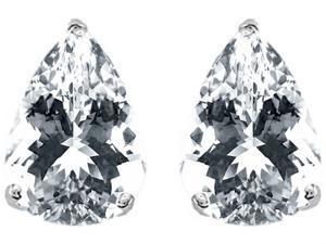 Star K Pear Shape 9x7mm White Topaz Earrings Studs in Sterling Silver