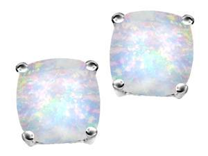 Star K Cushion Cut 7mm Created Opal Earrings Studs in Sterling Silver